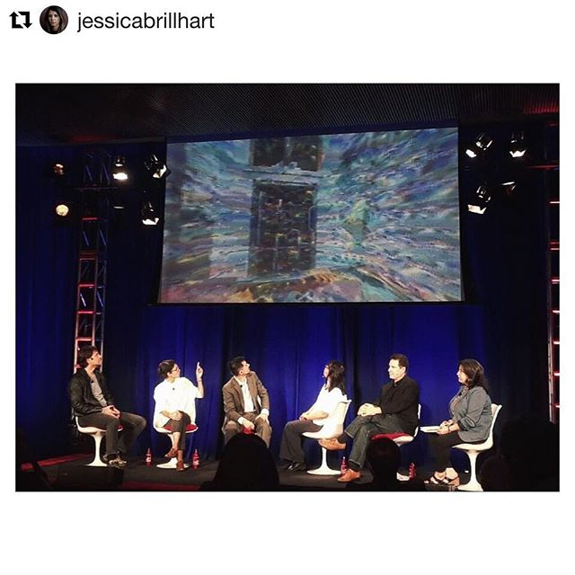 #Repost @jessicabrillhart ・・・ We talked about robotic trash cans, superhumanism, lived context, bio-humanism, evolved ethics, creativity, and death. Heck of a Saturday afternoon. #science #art  #ai #vr #dreams @worldscifest