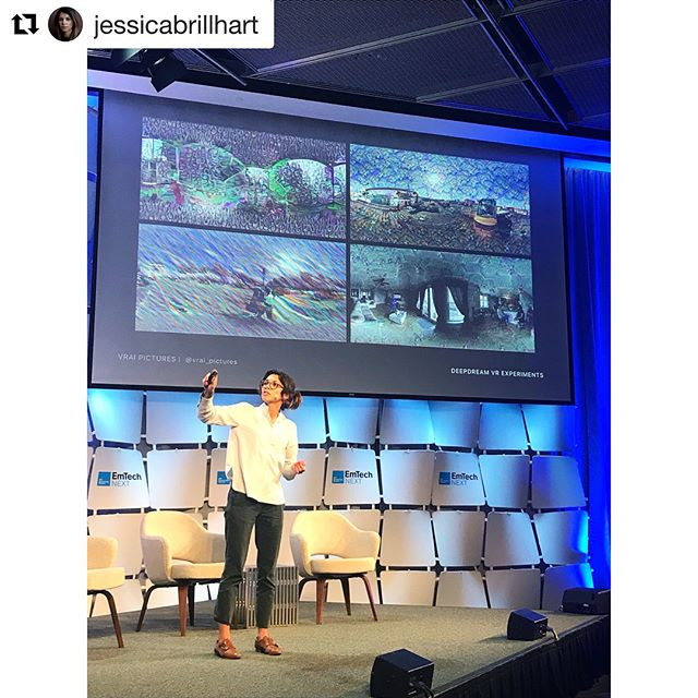 @vrai_pictures closed out Day 1 of EmTech Next with stories about co-creating with machines and the role of artists in this space. Photo credit to @jenngustetic. #emtechnext #staytrue . . . . . #deepdream #puppyslugs #icepagodas #rocks #genekelly #genewilder #williewonka #verucasalt #jerrymouse #williamblake #futureofwork #ml #robots #boston #vrai #true #reality #augmentedreality #virtualreality #machinelearning #artificialintelligence #immersive #vr #ar #ai #atari #deepmind #repost