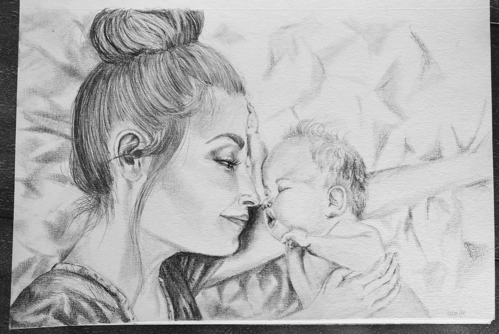 With her baby. Original sketch.