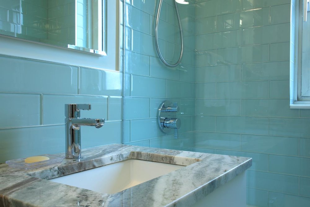Transitional Design - GRAMERCY PARK BLUE GLASS BATHROOM