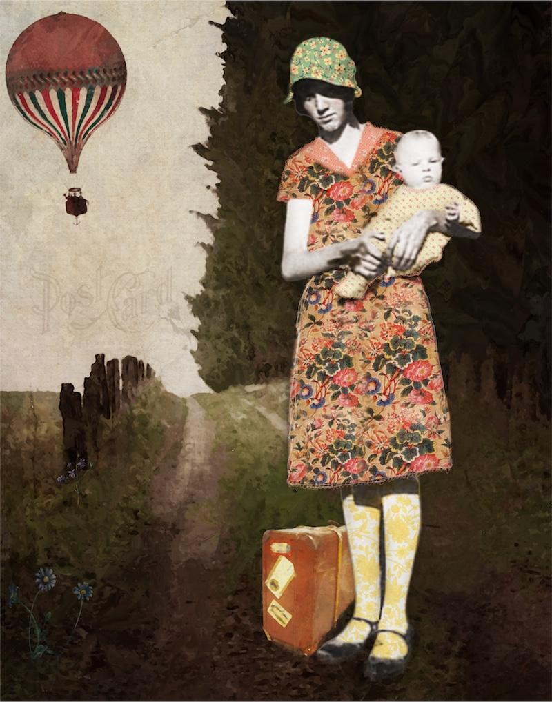original art incorporating antique photographs with collage