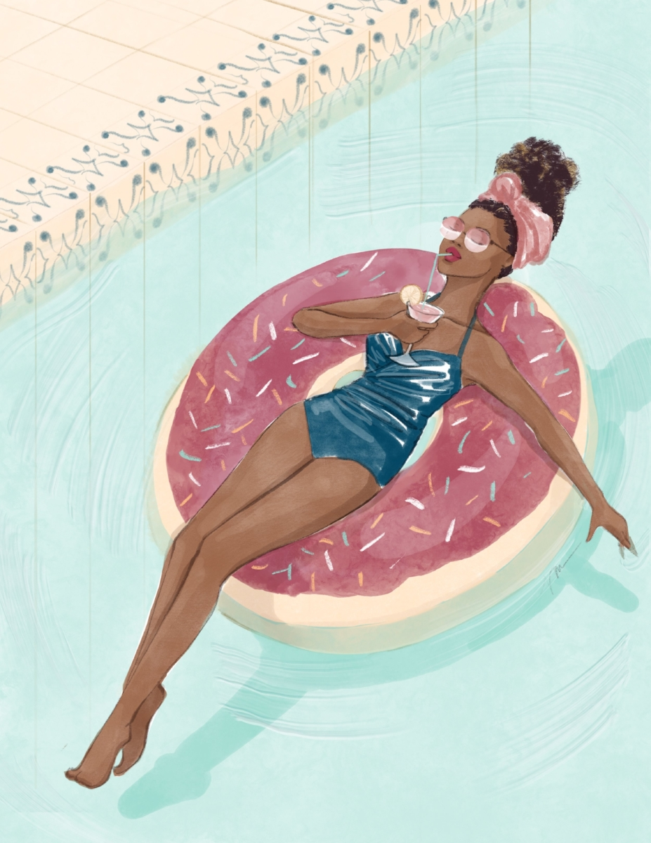 Pool Time - Illustration by Veronica Miller Jamison, Veronica Jamison Art