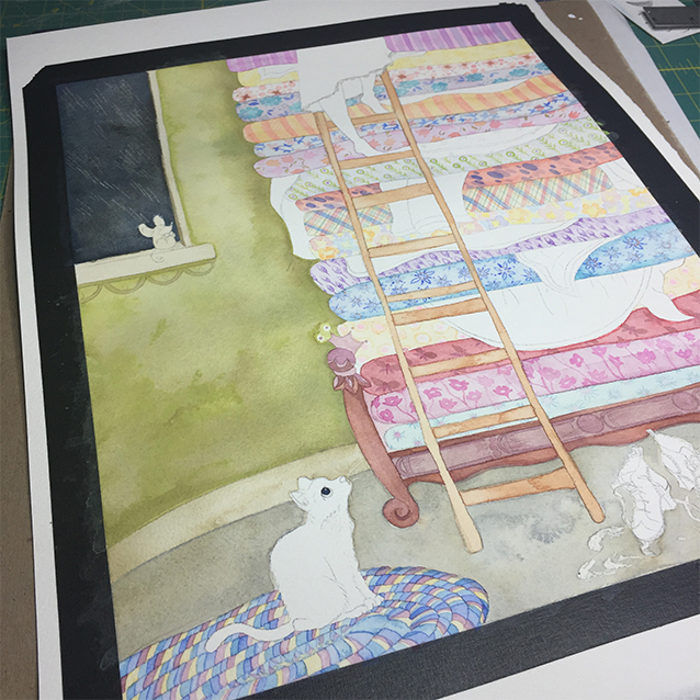 once i'd painted all the mattresses, i painted the background wall, the stormy night outside the window, and the rug under the kitty....