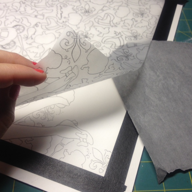 i place that tracing paper over my illustration board and use transfer paper to retrace the background pattern onto the board.