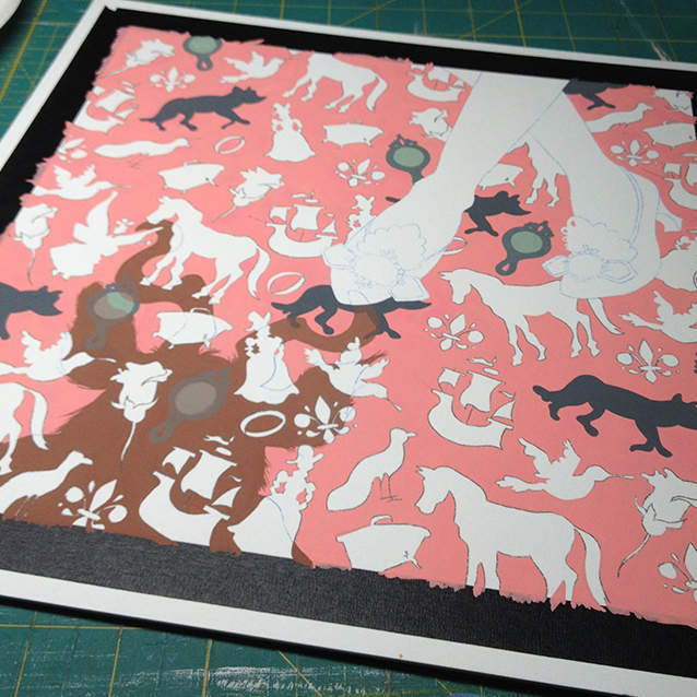 starting with the PINK gouache background, i start painting the piece one colour at a time. so background, then beasts shadow, then the shapes– and the shapes again to match what colour they'd be in beast's shadow. woohoo colour theory!