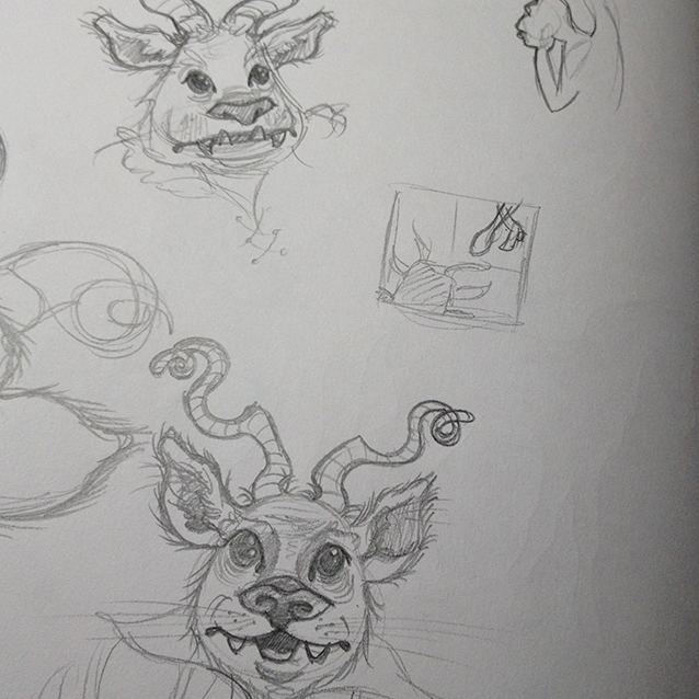 in the research process, i took the opportunity to collect some rare illustrated editions and all the other lovely versions i could get my hands (paws) on... and somehow my first beast sketches looked like a tony diterlizzi illustration… fine by me! i ended up of course just using the beast's shadow….