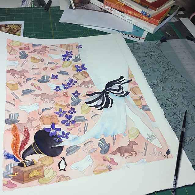 "i always save the feet and shoes for last when working on a piece. it just seems fitting for the whole ""faerie tale feet"" concept. so here's a mostly finished background painting while about to nervously begin the leg and fancy shoe of miss eliza doolittle…."