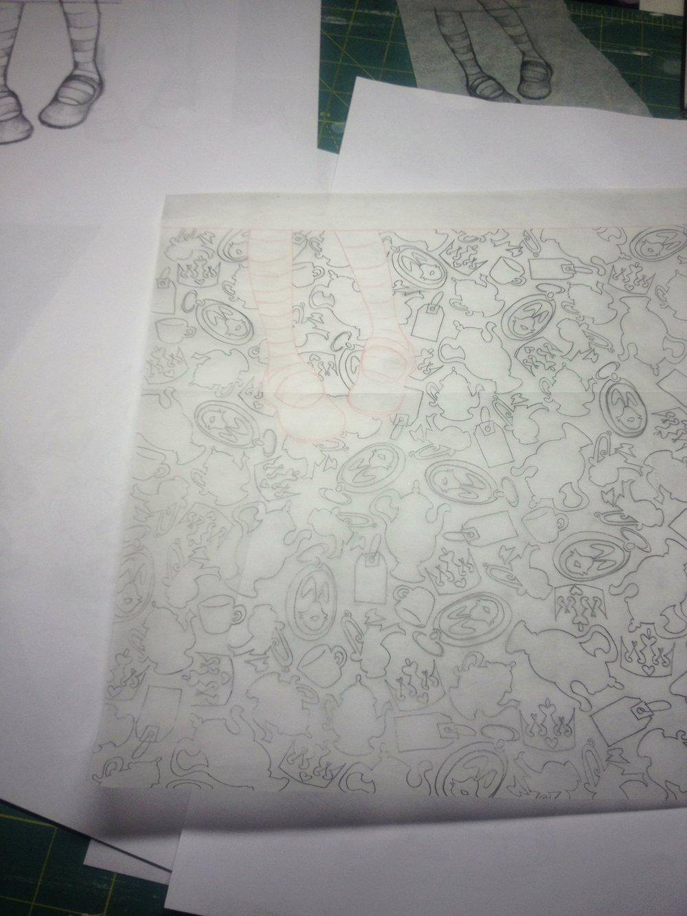 we always start with our shoe/posture drawing and story icon pattern drawing on tracing paper... which gets taped down to illustration board and re-traced so that we leave some transfer paper lines behind to paint inside of...