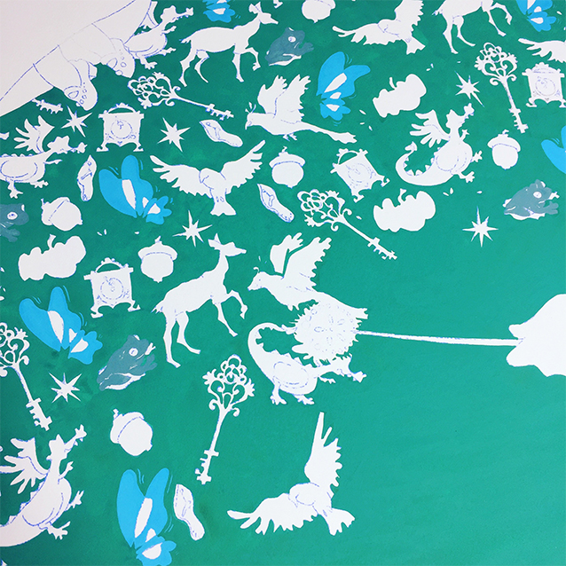 once the background colour is done, i'll paint one color at a time… i started with the frogs, then a bit of the wings…
