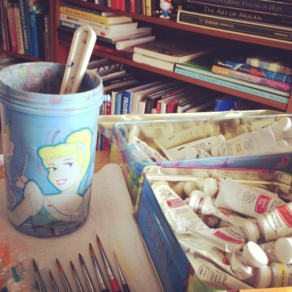 fun fact! the water cup i use for painting is a thermos from a cinderella set i bought while working at the disney store of fifth avenue.