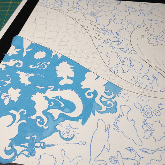 once the pattern is transferred to illustration board, the first paint colour i mix is the background colour– which typically informs the colour scheme of the whole piece. so here you see me starting to paint in sea blue around all those icon shapes!