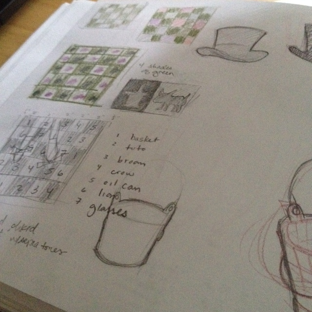 planning out the icon arrangements for the checkerboard pattern.