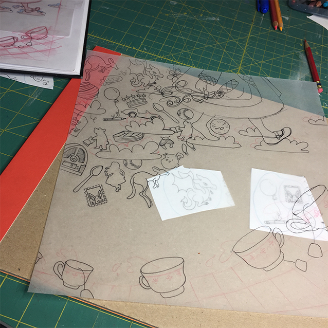 "so after i've read all the books, i go back through my margin notes and pick out the shapes to fill in the background pattern with that allude to adventures from the tale. so after i have those drawn, i use a sheet of tracing paper (11×11,"" same size as my final painting) to re-trace the shapes and fit them all together within my composition."