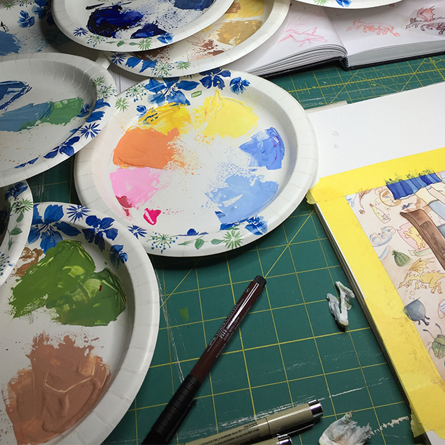 as in my harry potter piece, i recycle multiple plates of gouache from previous paintings.  sometimes i'll mix a new colour, but because i'm using layers and layers, i can usually make it up from what i've already got.
