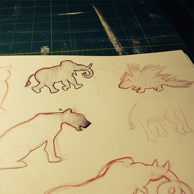 "after reading all of kipling's mowgli stories and ""the jungle book"" and taking copious notes, i get to start sketching icons to use for the background pattern. here you're seeing my experimental sketches for sahi the porcupine, bagheera, and hathi the wild elephant."