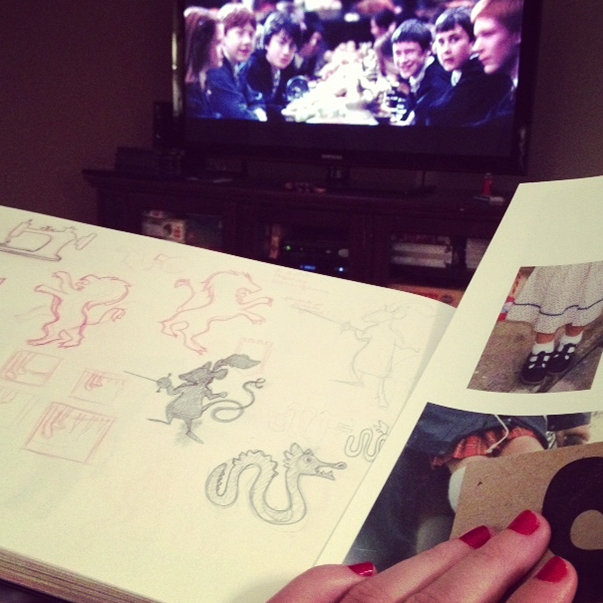 ometimes i sketch and research and explore one faerie tale while connecting with another. seen here are reepicheep and the sea serpent taking shape during a harry potter movie marathon. (& yes, some childhood photos of me for shoe reference!)