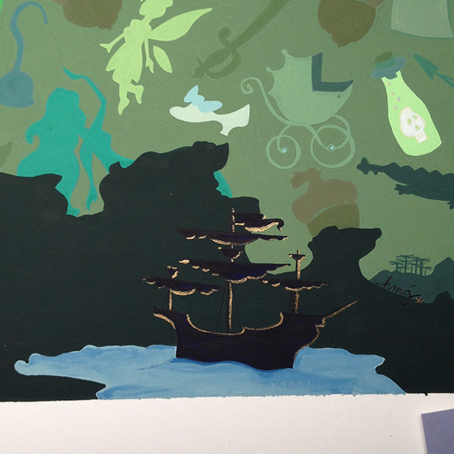 detail of the lagoon & jolly roger. love a happy ending, so of course highlighted it with pixie dust.