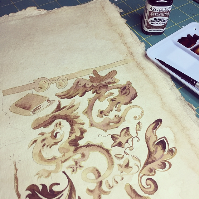all of the brown tones in this piece were painted with layers of dr. p.h. martin's radiant water color in antelope brown. (i can't help but tell you the full name of the product mostly because they used the word RADIANT and it humours me.) so the ink bled a bit on the coffee-paper, so i learned to control density and water in my brush to let it look aged, but not lose the forms.