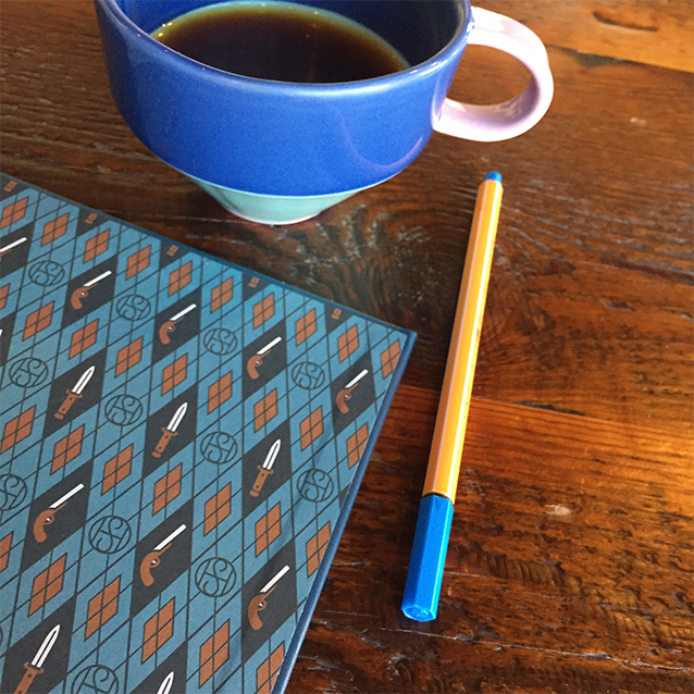 and sometimes i get to take my research books to the coffee shop and match my mug to my endpapers.