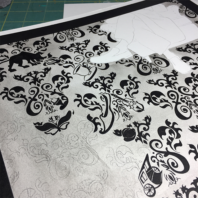 …the pattern emerges… inking the background took upwards of a dozen or two hours.