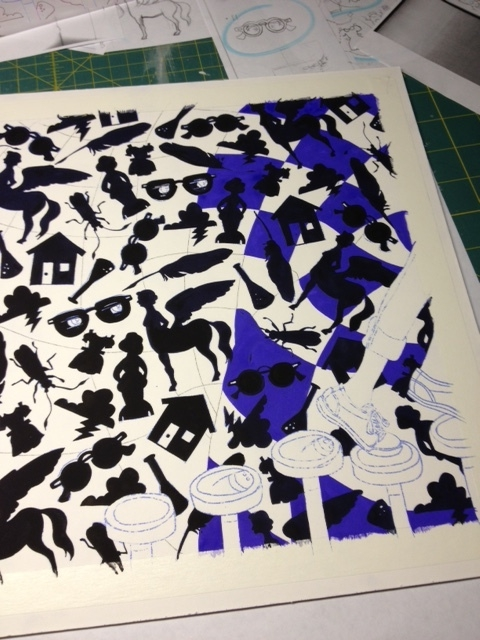 then started painting in the quilt pattern around them.