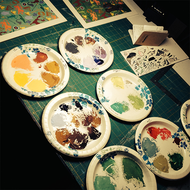 these were all the paper plate palettes i used to mix up each new colour of paint!   i do love all the colours!!  :D