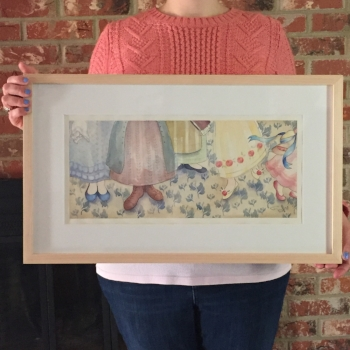 the original gouache & ink painting on watercolour is available framed in natural wood for $525.   contact me  if interested!