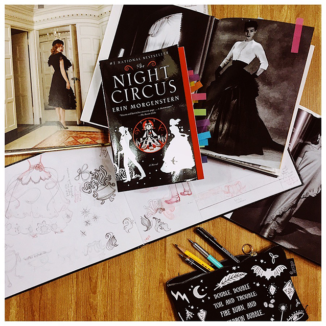 here's another look at some of my research and inspirational materials on top of my sketchbook (& self-annotated copy of  the night circus !)