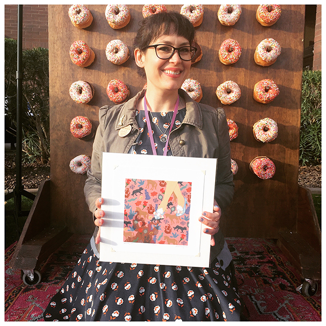 (cori of  owlcrate  took my picture for me in front of the picture*perfect donut wall on beaulitfulcon day. ooooh, the things we do for the 'gram!)  ;D