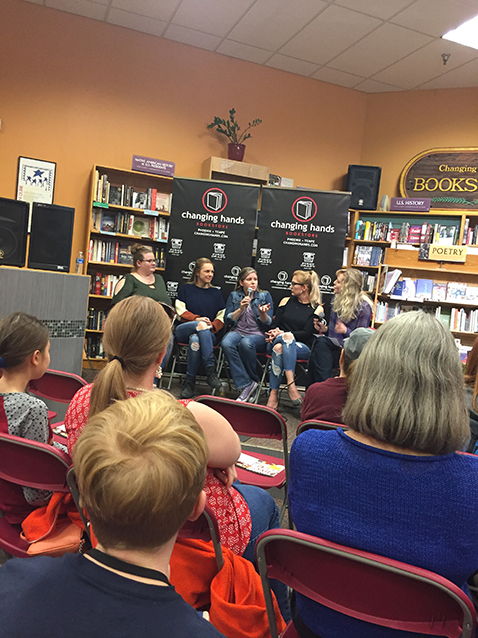 i got into town a couple days early (because i don't trust flight schedules not to lie to me) and made it JUST in time for an author panel and signing at  changing hands bookstore  in tempe.  from left to right, the incomparable:  beth revis ,  nadine brandes ,  sara ella ,  mary weber , and  ashley townsend .  i was in famous author fangirl nerdfest heaven and a total dork about meeting them all.