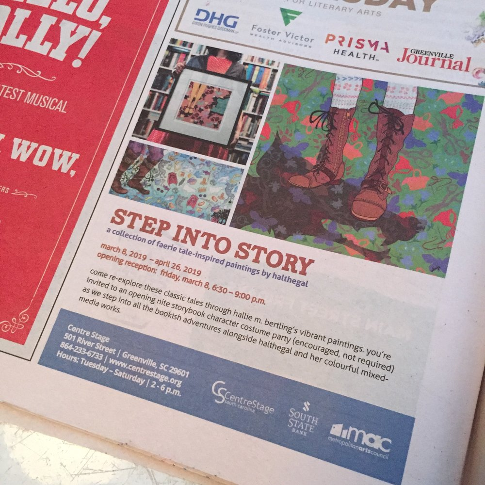 i was featured in  GVLtoday' s email THREE times last week (* fanning my famous self *) and  metropolitan arts council  was kind enough to put a quarter page in the  greenville journal,  too!! :D