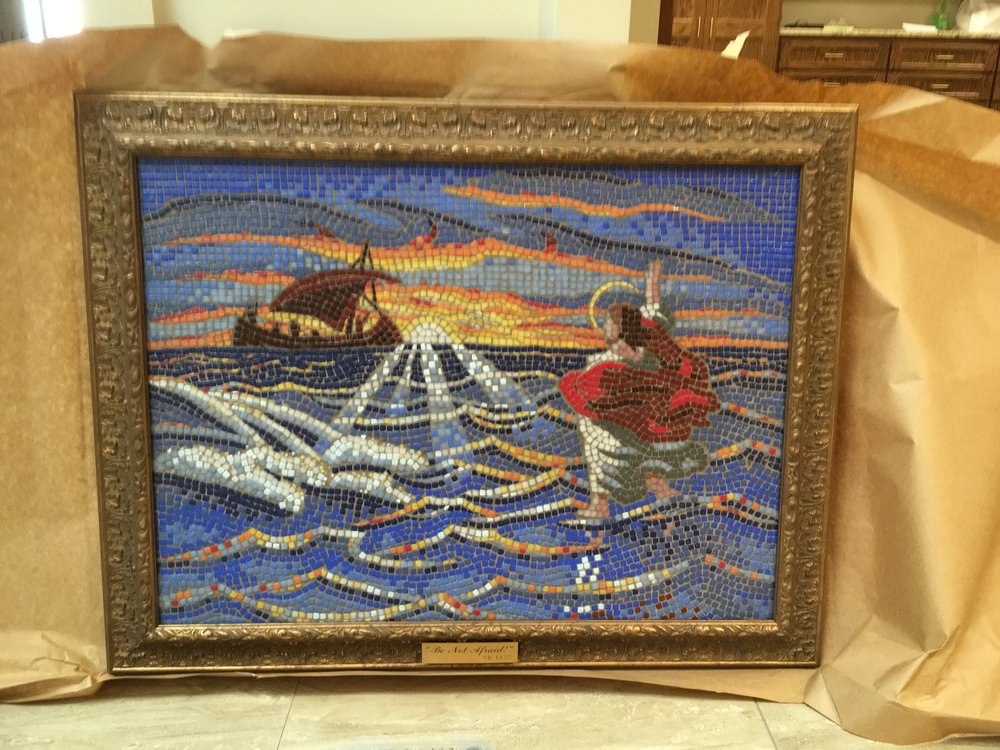 """The big reveal! Unwrapping the final framed mosaic for the first time was a real kick. The """"Be Not Afraid"""" title and plaque was the idea of Father Larry Niese, Pastor of St. Michael The Archangel Roman Catholic Church."""