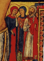 To Jesus' left are Mary Magdalene, Mary the mother of James, and the centurion who asked Jesus to heal his servant  (Matthew 8:5-13) . Over his shoulder is his servant. If you look closely over his head, you'll see his son who was healed by Jesus and the rest of his family