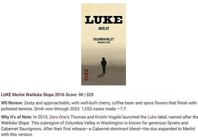 LUKE Merlot scores a 90 point rating from Wine Spectator! #washingtonwine