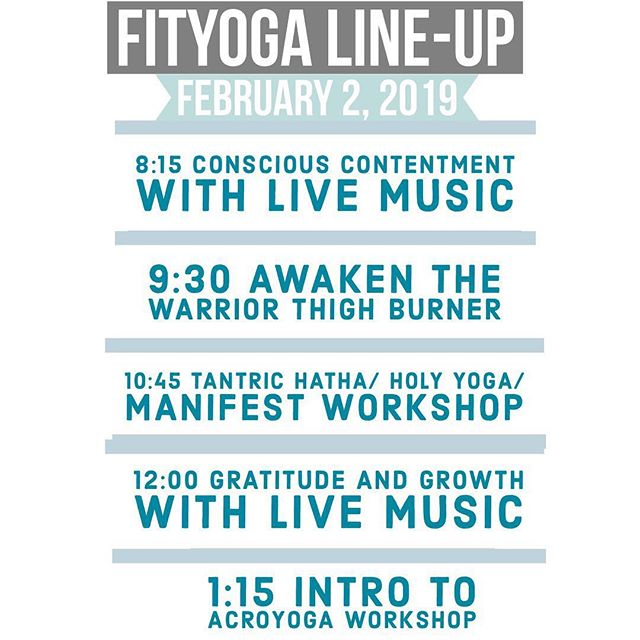 Next Saturday's Festival Line-Up! Join us for an incredible day of inspirational classes, challenging workouts, live music and more!  8:30-2:15pm at Mesa Riverview Park! Contact @ha.tha.yogini @yogi.bestill @bloolotus_vedayoga @meghsaul @natalieonacki @simonaruth @nickigorini @edgeacrobatics for value tickets, $30.00 ✨✨✨