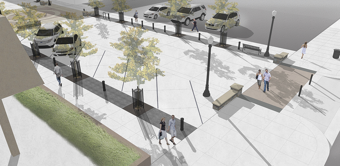 Graphic rendering of final concepts for the City of Hermiston's new festival street.