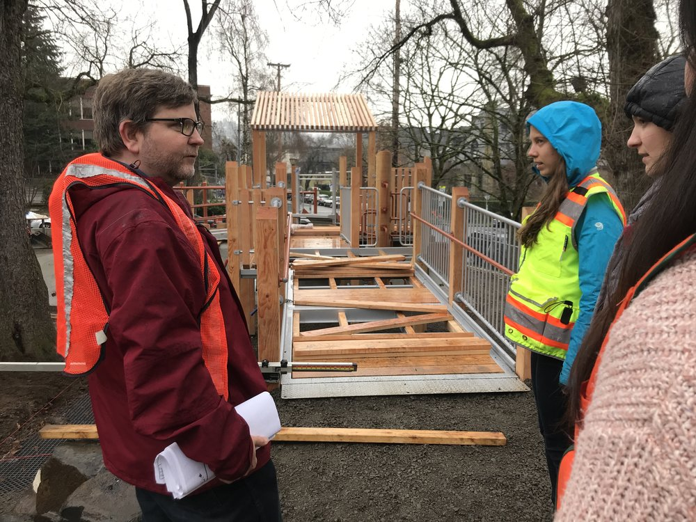 Not even the rain stops project manager Ben Johnson and Shadow Mentor Day.