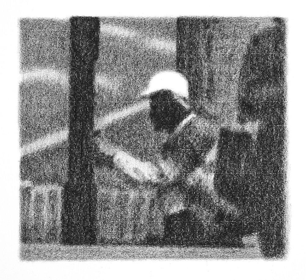 La Vie des Hommes (Travailleur Africain), Paris (2013 - 25x27cm Conte on Arches MBM Ingres)