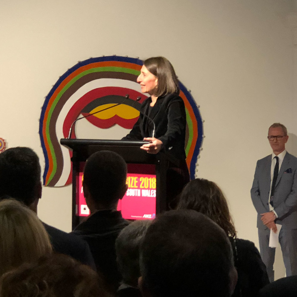 Gladys Berejiklian opening the exhibition, with AGNSW Director Michael Brand