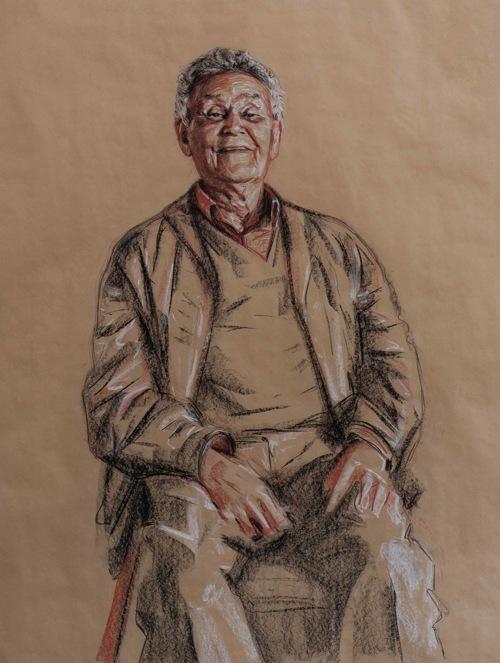 Uncle Merv Cooper (study, 2009) - 107x81cm, Conte on brown paper