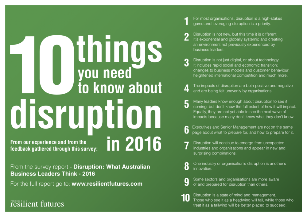 10 things you need to know about disruption in 2016 - From our experience and from the feedback gathered through our 2016 disruption survey.