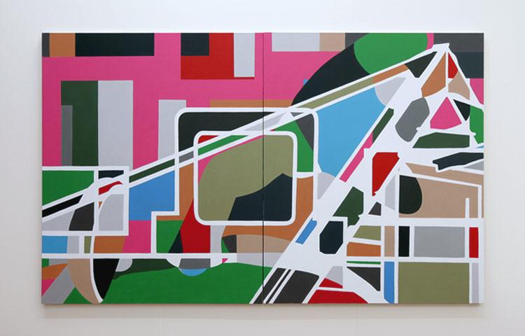 Oberheim Matrix  , 2013  |  Acrylic in linen, 1676 x 2744mm