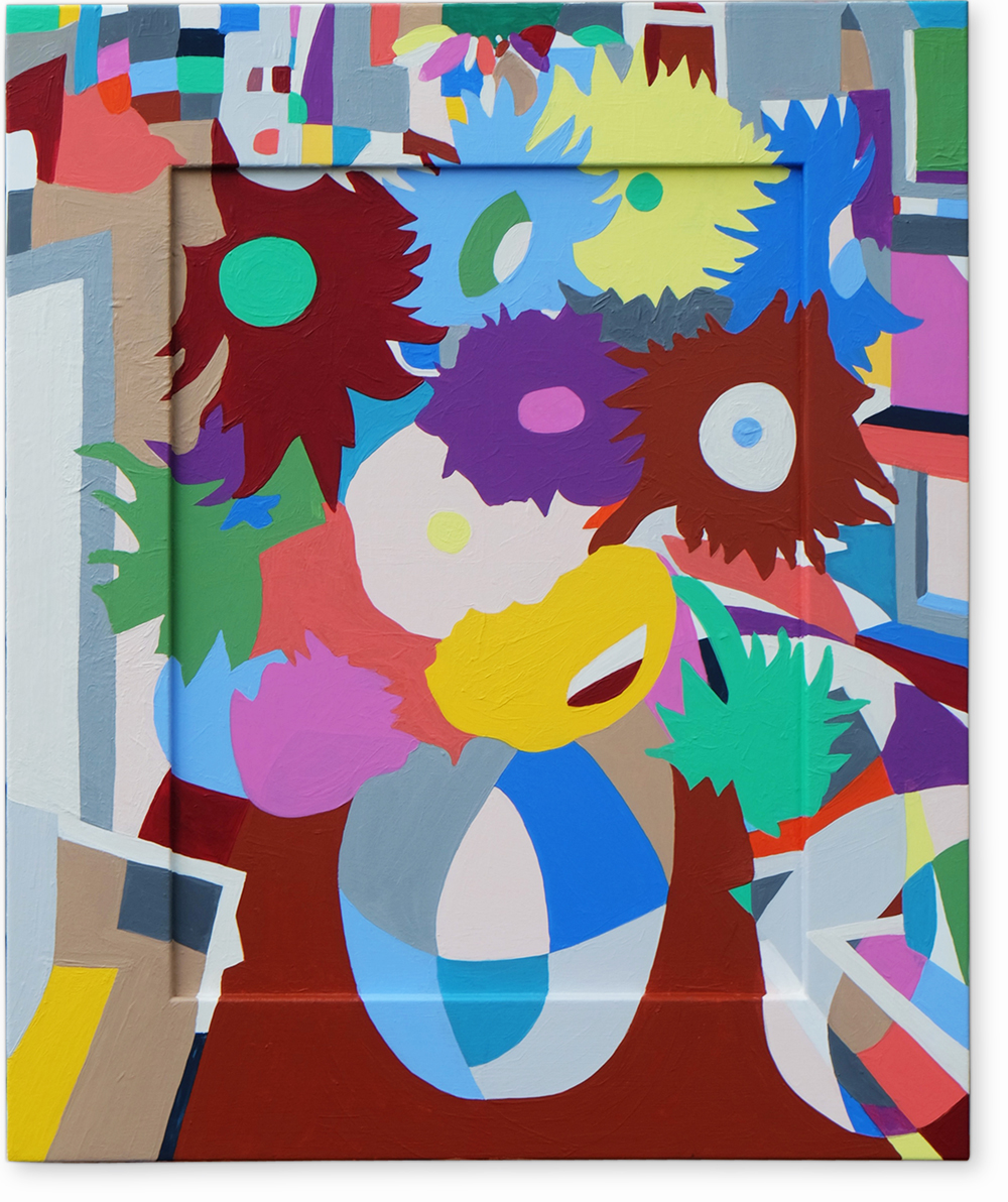 Still Life with Flowers , 2016 | Acrylic on framed board, 465 x 566mm,  Private Collection
