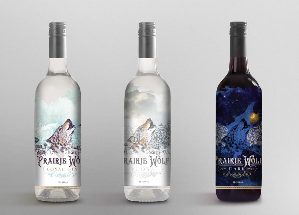 Loyal Gin, Prairie Wolf Vodka, Prairie Wolf DARK