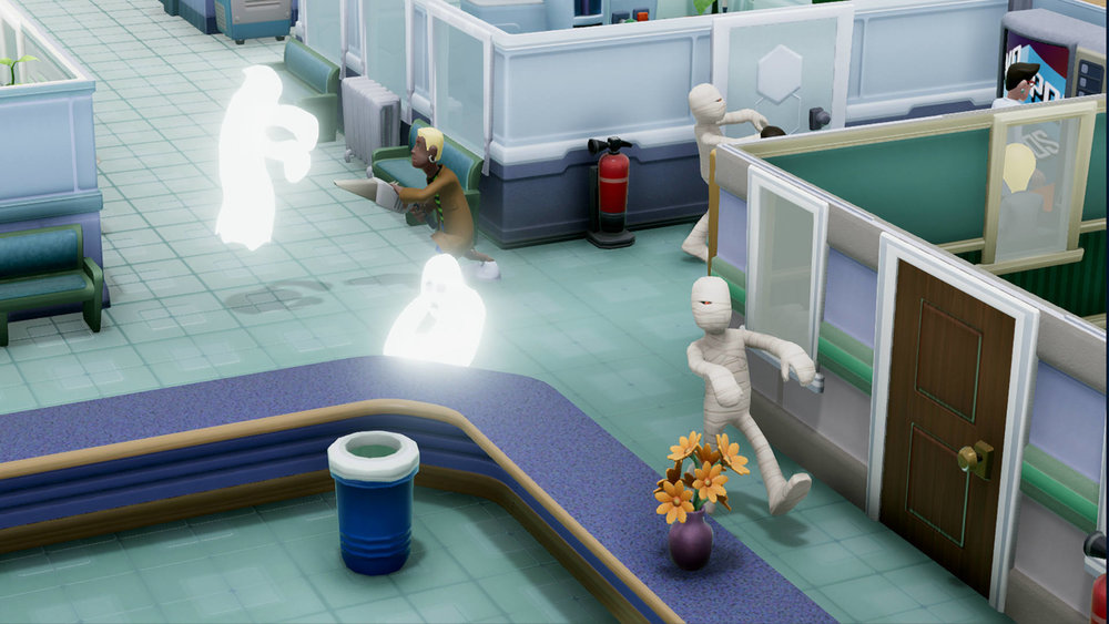 Two Point Hospital doesn't take itself seriously. Just like Theme Hospital.