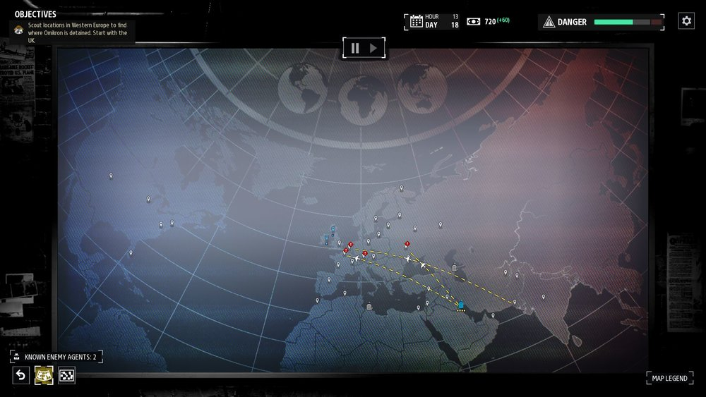 The situation room is where you'll assign agents to tasks around the world. There will be lots of suspicious activities and if you don't have enough agents, you'll find the enemy will more likely succeed in their efforts to impact your operations.
