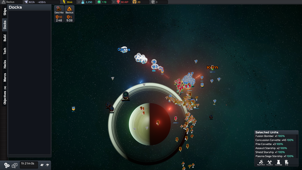Creating massive fleets and moving them to attack the AI fleet is as satisfying as ever. There's not much micro here, but still just enough of strategising needed on where to focus your attacks.