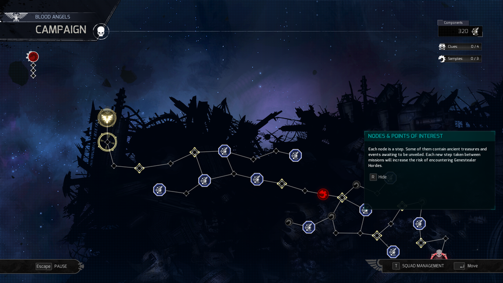 The game has campaigns for the Space Marines and Genestealers. The campaign map is a game of move the blip to the next node. You collect resources, experience the story and get into missions.