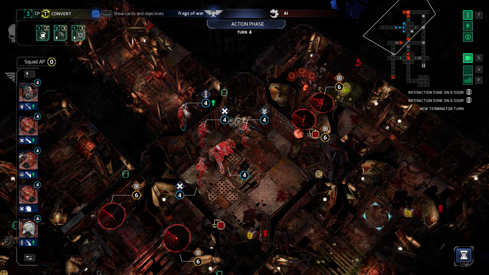 Frantic and challenging, playing the Space Marines will require a lot of strategic thinking and calculation of options and movement points. The genestealers are a lot more fun to play… and also easier.