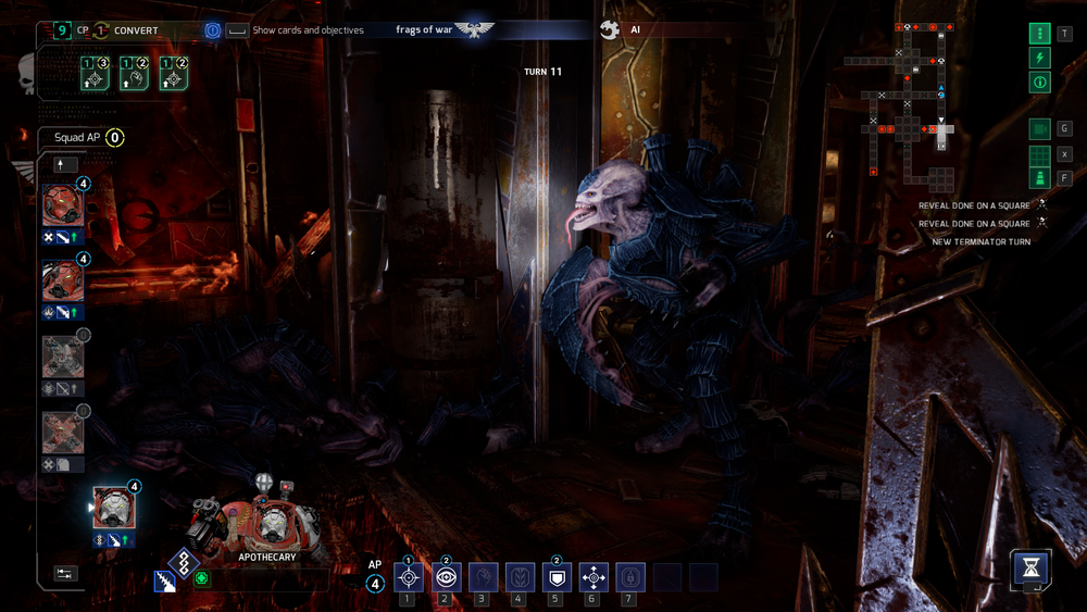 Space Hulk: Tactics even has a first person mode, an homage to the calssic 1993 Space Hulk game. It's cool, but not a practical way to play the game.
